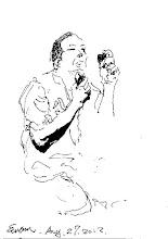 Photo: 刮鬍子2012.08.27鋼筆 監獄裡怕收容人利用傳統刮鬍刀片自殺或殺人,所以只能購買電鬍刀,但也怕他們把電鬍刀拿去改成刺青器具,所以不能帶進舍房,只能在工場集中放置和使用,沒錢買的只好和別人共用出監的人留下來貼著「公用」的舊品,也順道分享著傳得染病的風險。電鬍刀上面附的小鏡子雖然是塑膠製的,卻也仍是管制品,不能帶進房,為的是防止他們用來觀察我們管理員的動態,但過年期間還是有人會偷偷用它在遞物口照我們,好幫房裡幹偷雞摸狗事的把風,其實鏡子會反光,哪些房在幹壞事,我們一目了然....