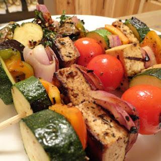 Spicy Balsamic Tofu Veggie Kebabs.