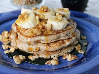 Cinnamon Vanilla Pancakes W/ Banana & Walnuts Recipe