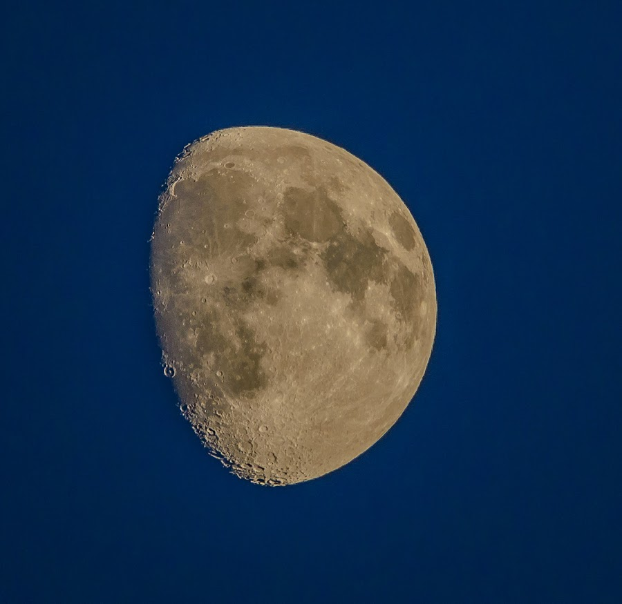 Moon Shot by Jerry Cahill - Landscapes Starscapes ( moon, blue sky, stars, earth, sun )