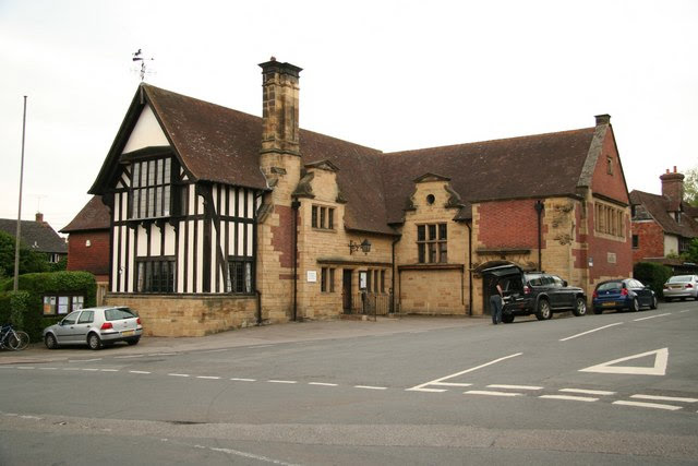 Penshurst Village Hall, UK, showing Tudor framework, and chimneys. Renovated to half-timber by the Rector's son Maxwell Maberlay Smith in 1898.