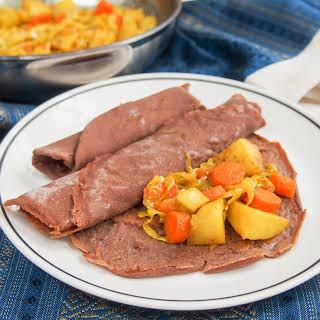 Ethiopian injera and tikel gomen (cabbage, carrots and potato) #SundaySupper.