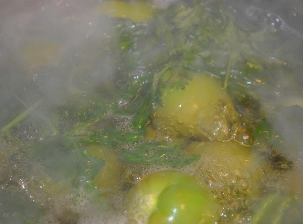 While Chicken is cooking or after its deboned,  Husk and wash the tomatillos. In...