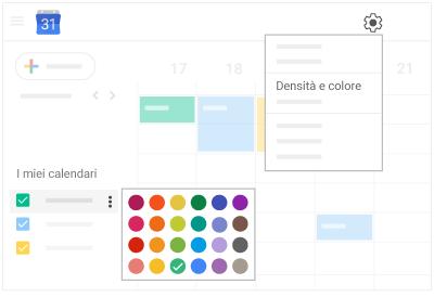 Cambiare i colori del calendario e degli eventi