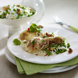 Thai-Marinated Chicken with Rice and Peas.