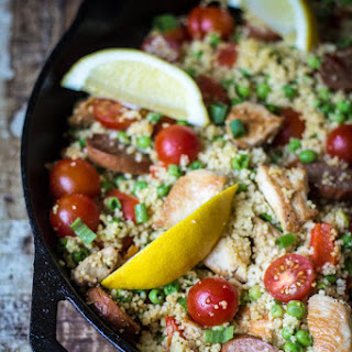 "Couscous ""Paella"" with Sausage and Chicken."