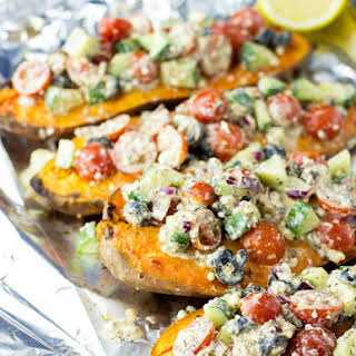 Baked Sweet Potatoes with a Five Star Feta Salad.