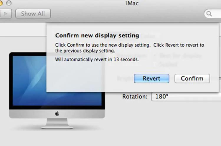 Confirm or revert screen orientation