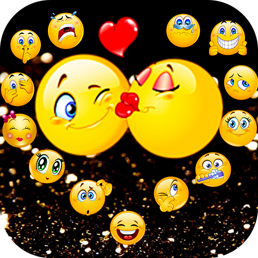 Black Crazy Emoji Glitter Theme