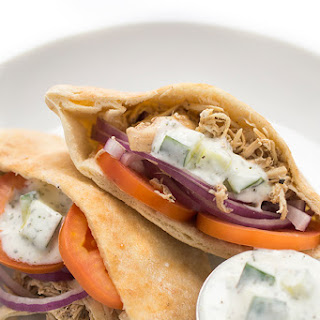 Slow Cooker Chicken Shawarma Pitas with Cucumber Sauce.