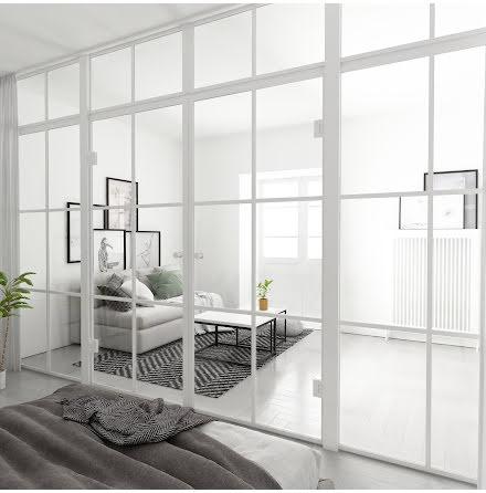 Industrivägg två väggar + två dörrar + ovanliggare vit