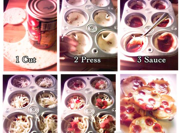 Cut small rounds out of tortillas (using jar lid or a glass). Place the...