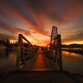 sunset by Ikan Hebat - Uncategorized All Uncategorized ( water, sunset, boats, sea, landscape )