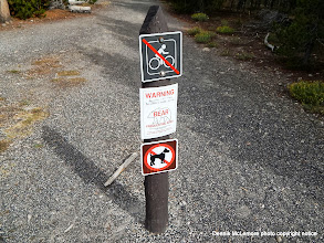 Photo: The bear warning sign wasn't posted at the trailhead we used. We had to go back the same way to return to our car.
