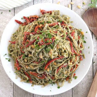 Spinach Spaghetti with Sun-Dried Tomatoes.