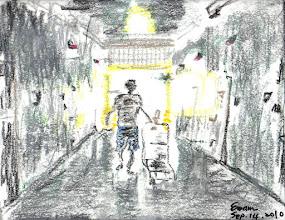 Photo: 新生2010.09.14軟式粉蠟筆+粉蠟筆 昨天帶出工的收容人,他一談起即將期滿出監,一整個臉上神采飛揚。 我現在一邊回想一邊畫著,推著車走在前面的他彷彿漸漸被通廊彼端的光亮包圍,誠摯地祝福他有個充滿新生的未來…