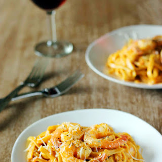 One Pot Creamy Curried Tomato Pasta with Shrimp.