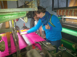 Photo: Sarah's learning how sarees are made.  This one's a wedding saree, I believe.