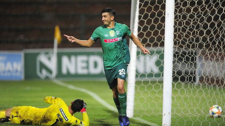 Emiliano Tade of AmaZulu FC scores from a penalty spot past the defence of goalkeeper Marlon Heugh of Highlands Park during the Nedbank Cup first round match at King Zwelithini Stadium on January 25 2019.