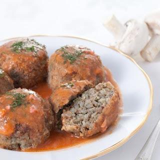 Buckwheat Meatballs With Mushroom Sauce.
