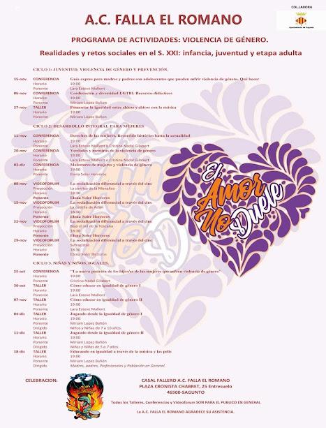 Programa de actividades: Violencia de género. A.C. Falla El Romano de Sagunto.
