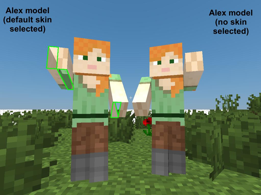 Alex skin manually selected vs default load.