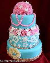 Photo: Teal and Pink Wedding cake by SweetCreationsbyFlor (7/7/2012) View cake details here: http://cakesdecor.com/cakes/20651