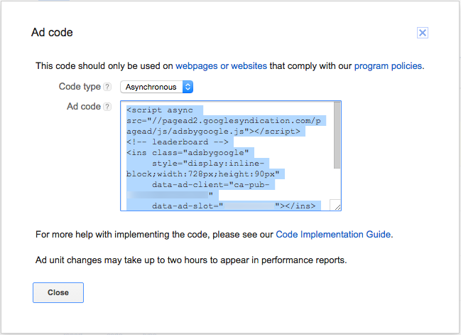 Get and copy the ad code - AdSense Help