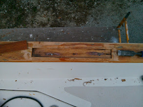 "Photo: The starboard, aft repair is the only one where the rot did not extend the full thickness of the caprail.  I went down about 1/4"" into the caprail on this repair."