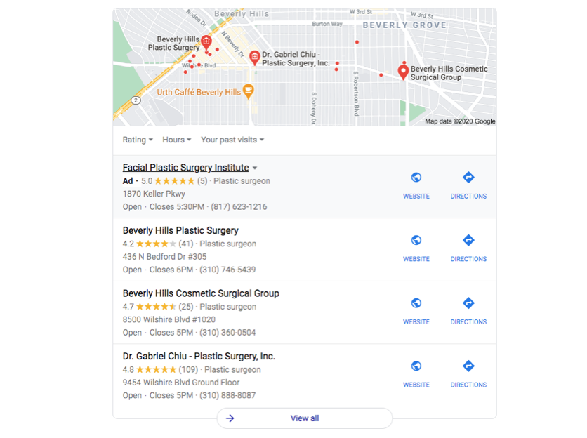 Google Maps Search Engine Results Page (SERP) Example for Plastic Surgeons