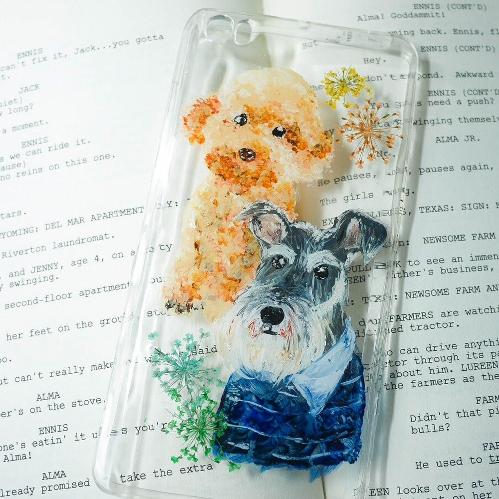 [訂製/custom-made] Dogs Painting Pressed Flower Phone Case