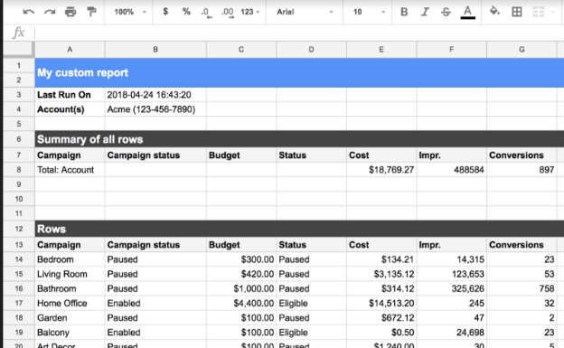 Google Ads add-on in Google Sheets