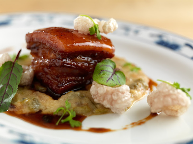Maple Cider Glazed Pork Belly, Cream of Wheat and Chicharrons