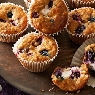 Wild Berry-Oatmeal Cheesecake Muffins.