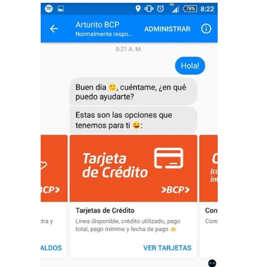 Chatbot del banco BCP.