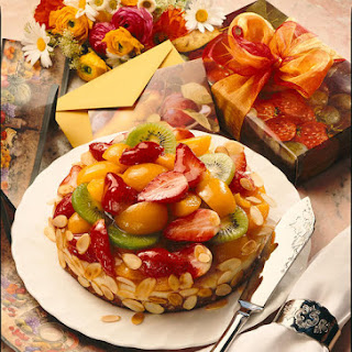 Almond Cake with Fresh Fruit Topping.
