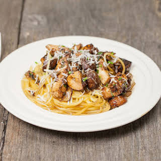 Balsamic Chestnut Mushroom Spaghetti.