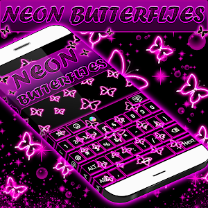Neon Butterflies Keyboard screenshot 2