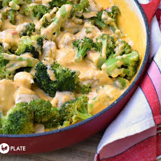 Chicken Broccoli Skillet with Pimento Cheese Sauce.