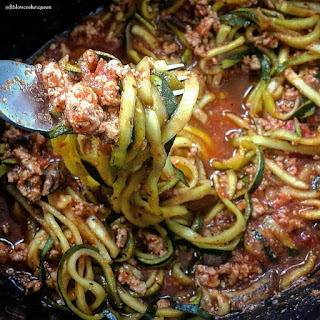 Slow Cooker Zoodles with Meat Sauce.