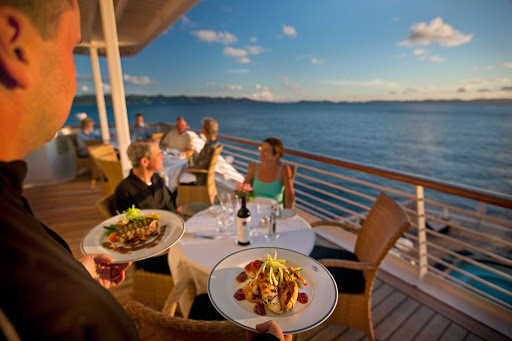 Seadream-al-fresco1.jpg - Dine on deck for a more casual dining option on SeaDream Yacht Club cruises.