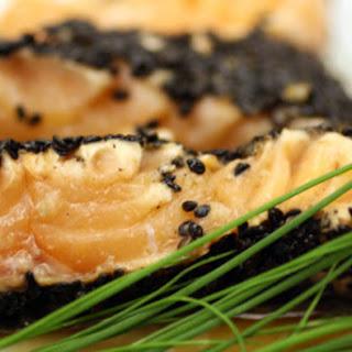 Black Sesame Seed and Sea Salt-Crusted Salmon with Wasabi-Lime Sauce.