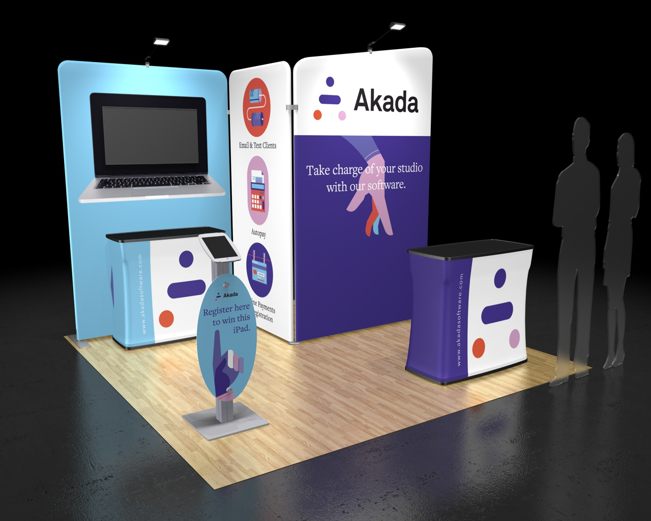 Akada, a software company, needed a booth design that expressed their unique brand identity, and chose the Waveline Media 10.07 tension fabric display.