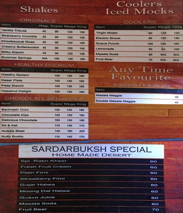 Sardar-Ji-Bakhsh Coffee & Co. menu 2
