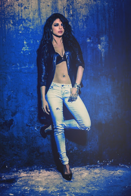Priyanka Chopra in Jeans and Blue Jacket belly button