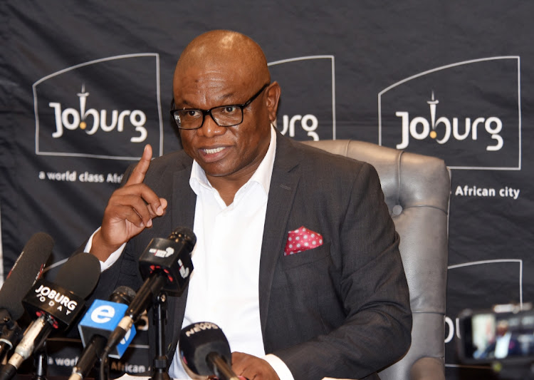 Geoffrey Makhubo the Executive Mayor of the City of Joburg at the Media briefing at the Metro Centre in Braamfontein.