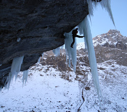 Photo: Topping out between two ice daggers on 'Pink Panther', Switzerland