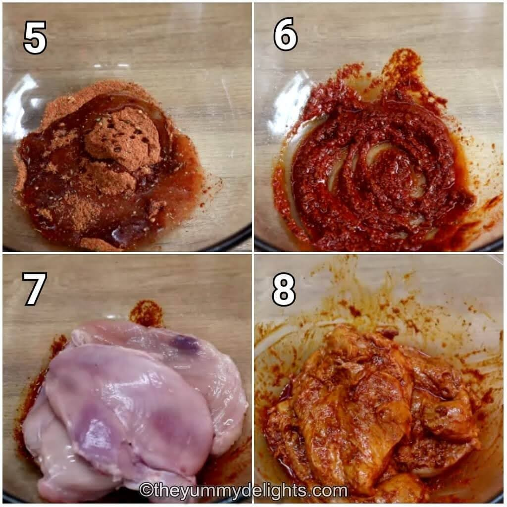 step by step image of preparing cajun chicken marinade and marinating the chicken breast