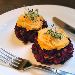 Beetroot, Walnut And Feta Burger With Roasted Carrot Hummus