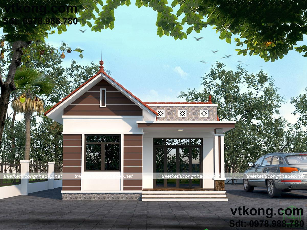 7 mẫu nhà cấp 4 đẹp ở nông thôn giá 400-500 triệu - Vtkong
